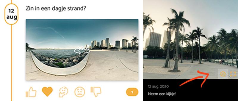 Tijdlijn 360° foto op de BouwApp